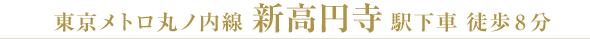 東京メトロ丸ノ内線 新高円寺駅下車 徒歩8分